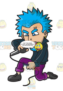 A Punk Rock Singer With Blue Hair
