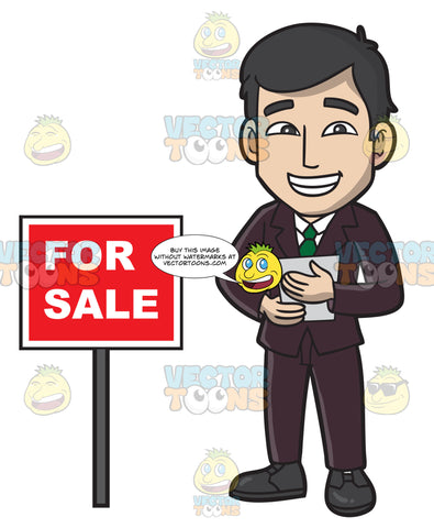 A Male Real Estate Agent Trying To Sell A House