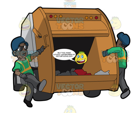 Two Black Male Sanitation Workers On The Back Of A Garbage Truck