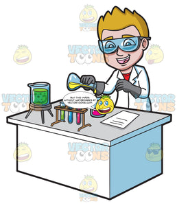 A Happy Scientist Mixing Chemicals