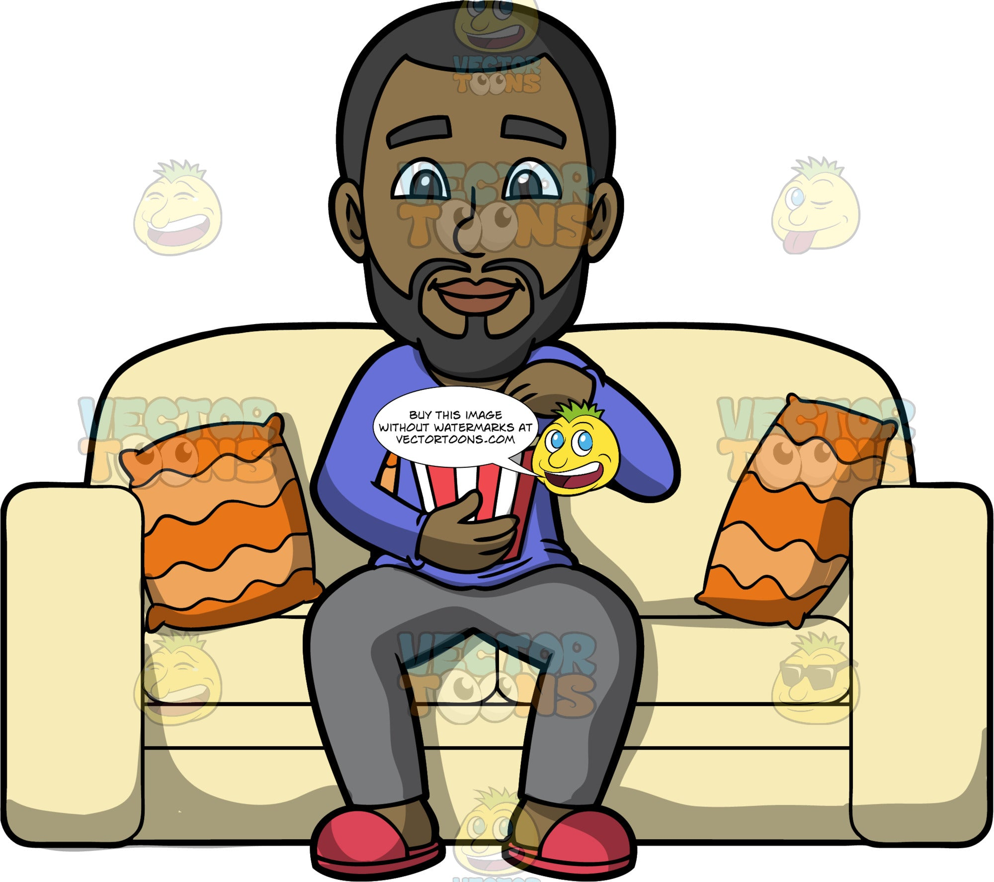 Calvin Watching A Movie. A black man with a beard wearing gray track pants, a long sleeve purple shirt, and red slippers, sitting on a light yellow sofa eating popcorn while watching a movie