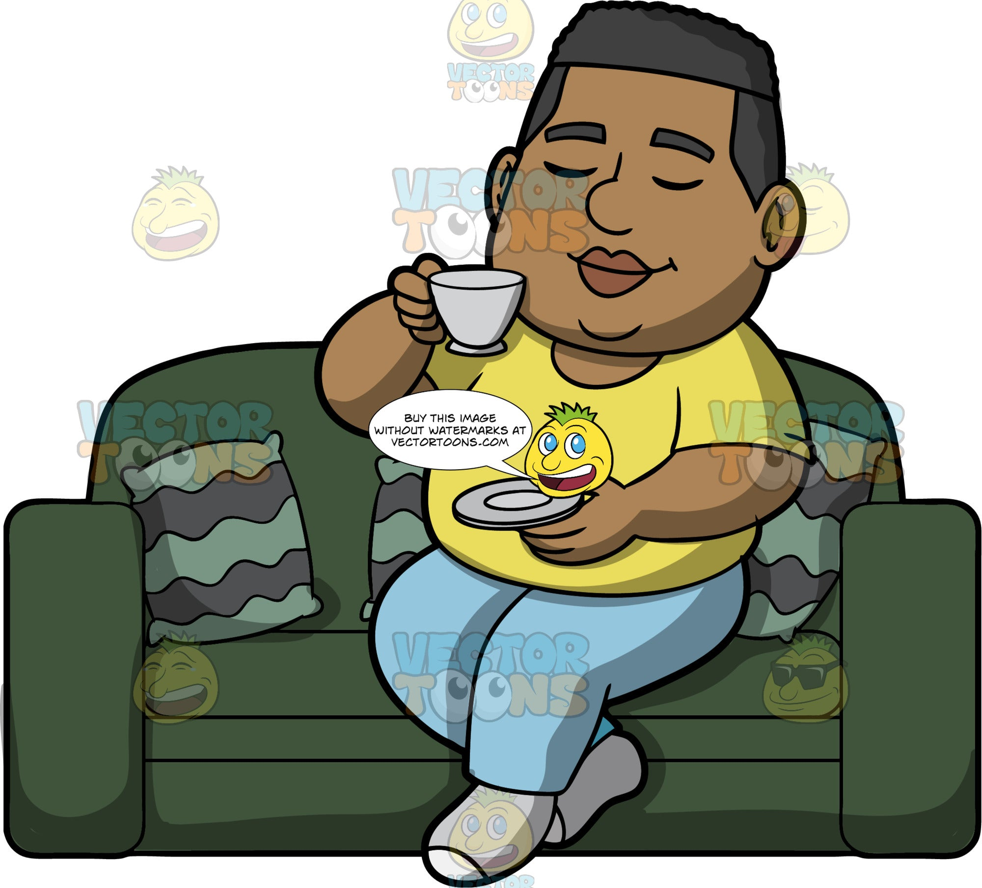 James Drinking A Cup Of Tea. A black man wearing light blue pants, a yellow t-shirt, and gray socks, sitting on a green couch drinking a cup of tea