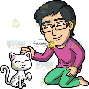 Simon Petting A White Cat. An Asian man wearing green pants, a long sleeve purple shirt, and eyeglasses, kneeling on the floor petting a white cat