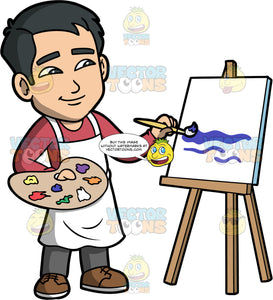 Kevin Painting On A Canvas. An Asian man wearing a white apron over gray pants and a long sleeve shirt, holding a painting pallet in one hand and a paint brush in the other hand as he uses it to paint on a white canvas