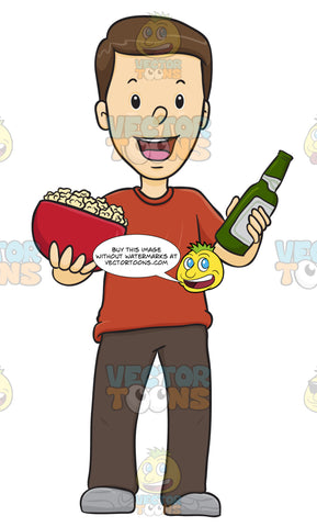 Male Holding A Beer And A Bowl Of Popcorn