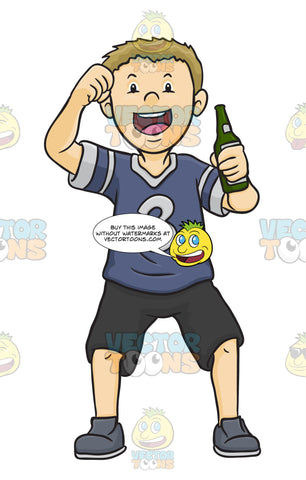 Male Wearing A Sports Jersey While Holding A Beer And Is Excited