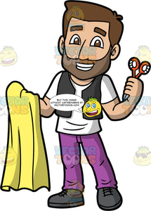 A Tailor Holding A Pair Of Scissors And Some Fabric. A man with brown hair and a beard, wearing purple pants, a black vest over a white shirt, and dark gray shoes, holding a piece of yellow fabric in one hand, and a pair of scissors in the other
