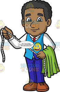 A Black Male Tailor Holding A Measuring Tape. A black man wearing dark blue pants, a light blue vest over a white shirt, a red tie, and brown shoes, standing with a tape measure open between both hands, and a piece of green fabric draped over his one arm