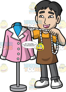 A Male Tailor Measuring A Jacket On A Tailor Bust. A man with black hair, wearing gray pants, an orange shirt, a brown apron, and white shoes, measuring a pink jacket on a tailor bust