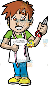 A Cool Male Tailor. A man with spiky brown hair, wearing blue pants, a green shirt, a white apron, yellow shoes, and a tape measure around his neck, standing and holding a pair of scissors in one hand