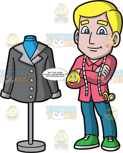 A Male Tailor Standing With His Arms Crossed. A man with blonde hair and blue eyes, wearing blue pants, a pink shirt, green shoes, scissors in his pocket, and a tape measure around his neck, standing next to a tailor bust with a gray jacket on it, with his arms crossed