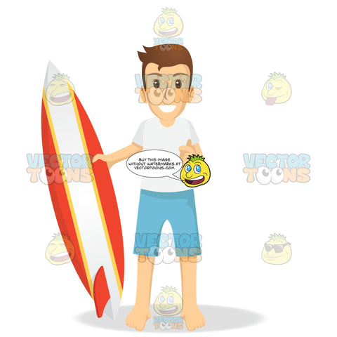 Male Tourist Holding Up A Surfboard