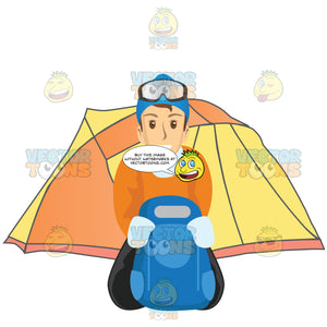 Male Tourist With A Tent And Backpack
