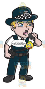 A British Male Police Officer Alerting Units