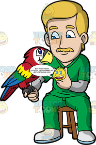 A Male Veterinary Doctor Injecting Vaccine Into A Macaw Bird. A male veterinarian with blonde hair, mustache, wearing green scrub suit over a gray sweatshirt, shoes, injects a vaccine into a colorful macaw bird with red, yellow, green and blue feathers, clinging into his right index finger