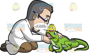 A Male Veterinary Doctor Treating An Iguana. A male veterinarian with gray hair, mustache and beard, wearing a white coat, khaki brown pants, brown shoes, eyeglasses, inspects the mouth of a pet iguana with green skin and spiky spine