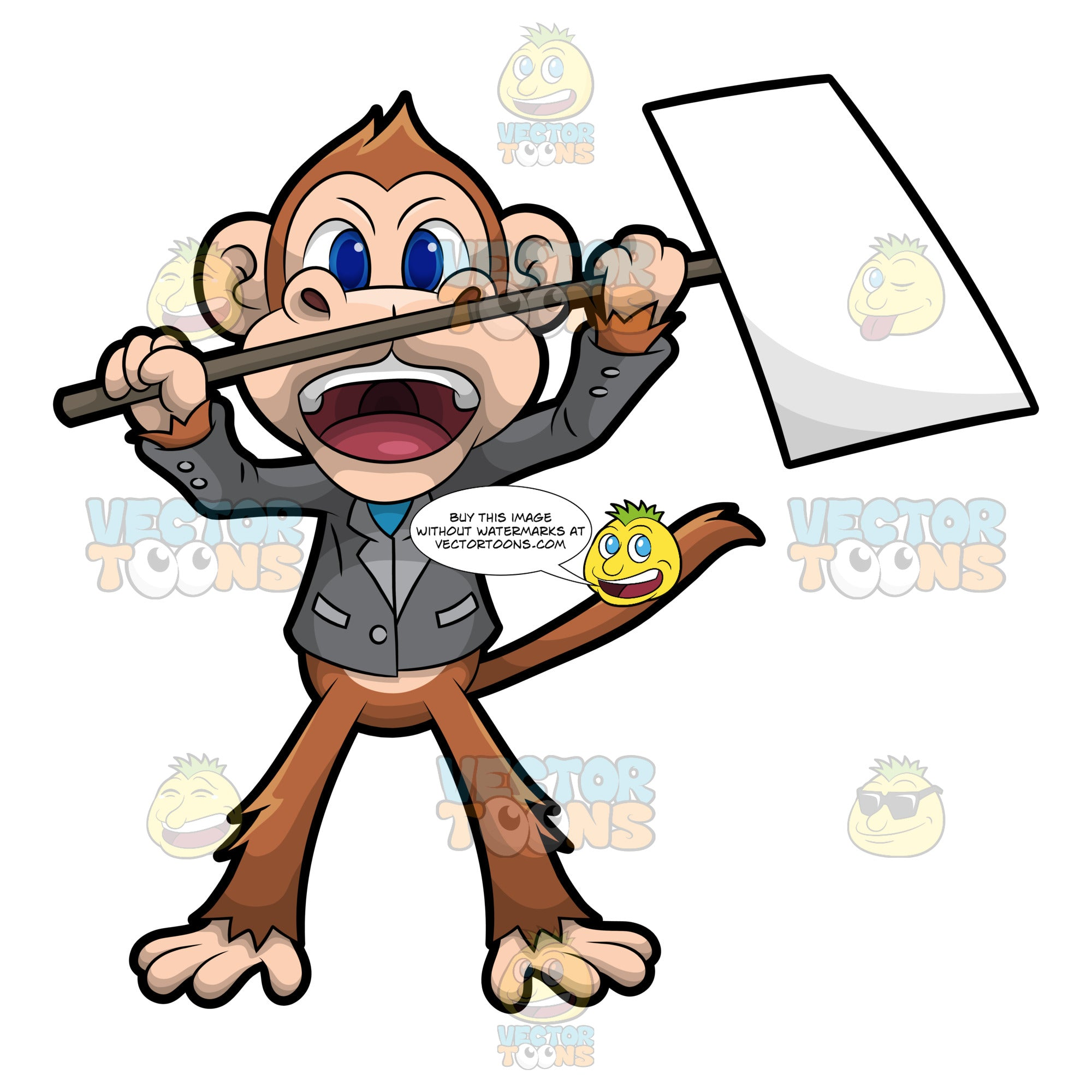Martin The Monkey Holding A Signboard