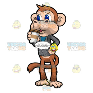 Martin The Monkey Drinking Coffee
