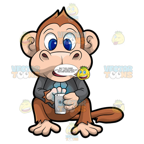 Martin The Monkey Sending A Text Message