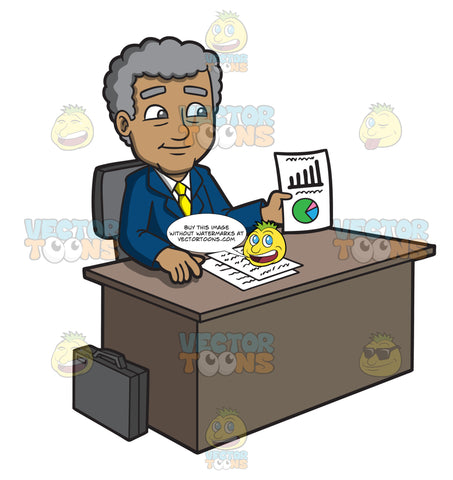 A Mature Businessman Showing A Chart On Paper