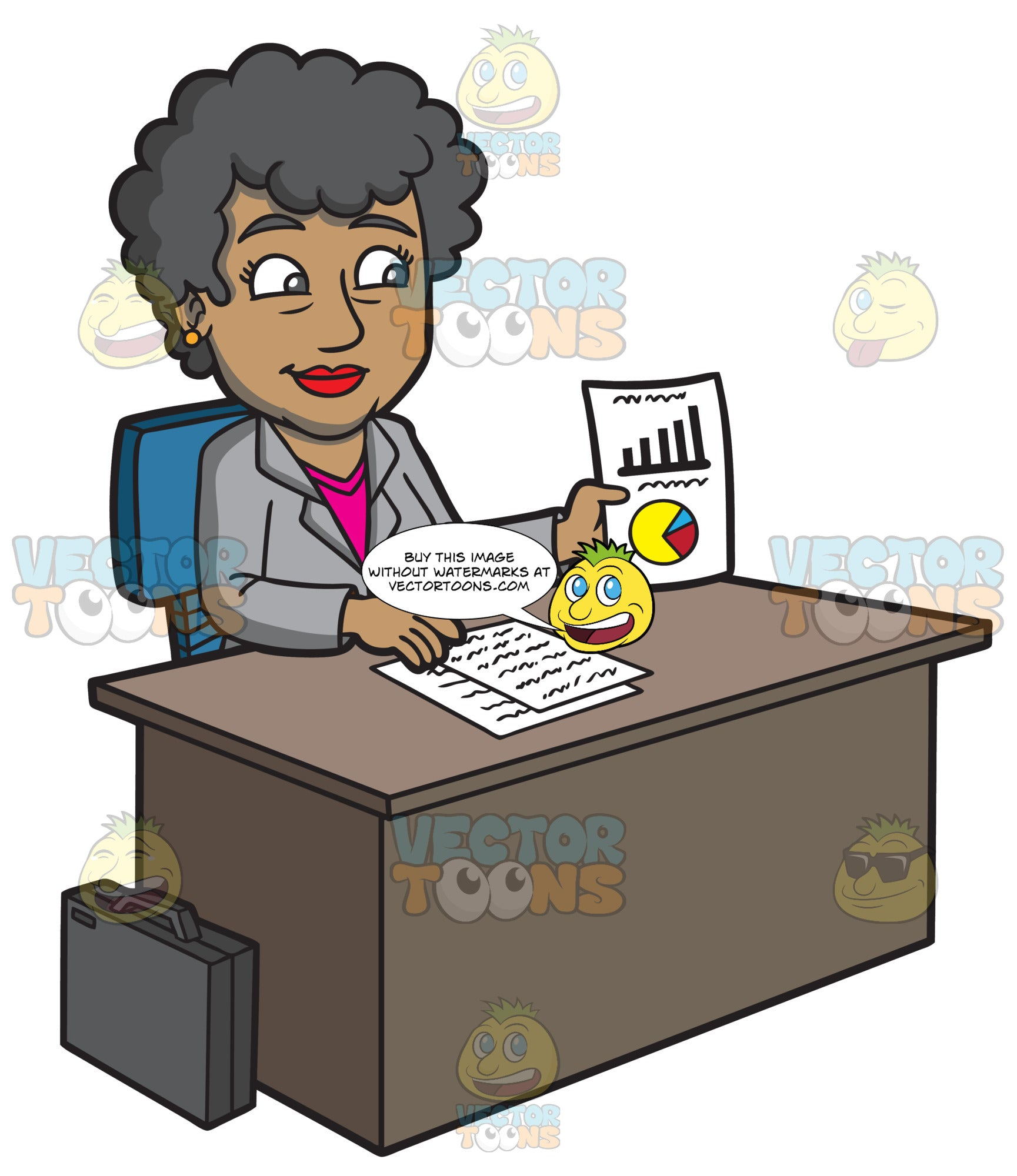 A Mature Businesswoman Showing A Paper With Charts