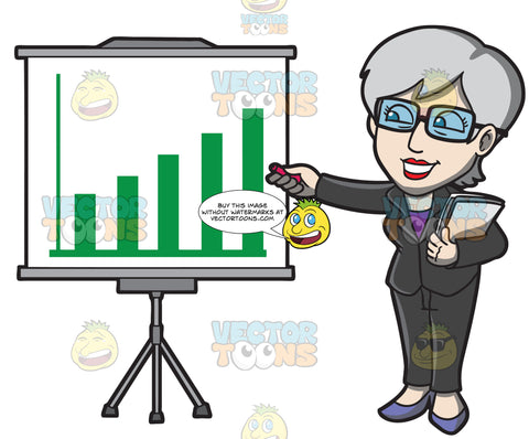 A Mature Businesswoman Explaining A Graph During A Presentation