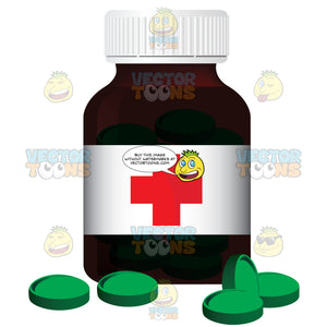 Bottle Of Green Pills With A White Label With A Red Cross On The Front
