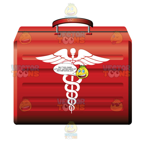 Red Case With Medical Symbol On The Front
