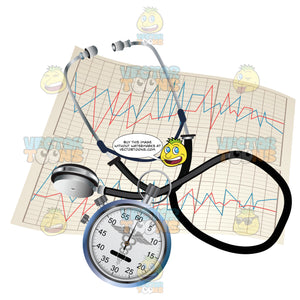 Stethoscope Stop Watch And A Print Out From An Ekg