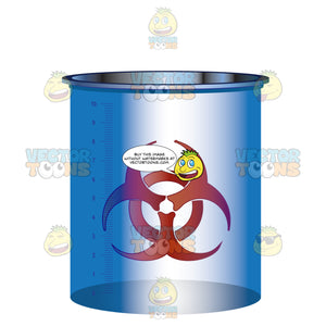 Blue Container With Hazard Symbol On Front