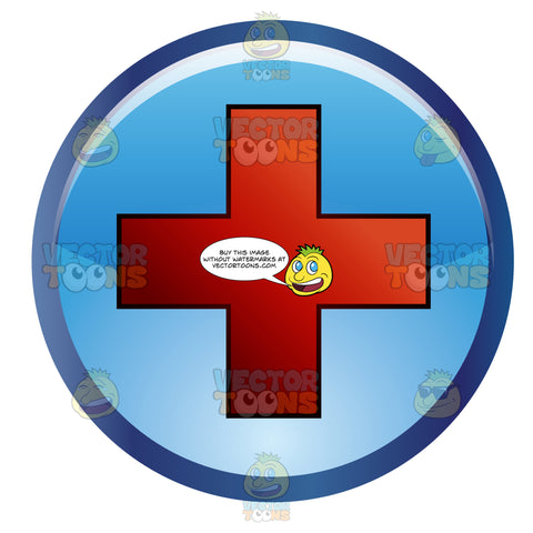 Blue Circle With The Red Cross Symbol In The Center