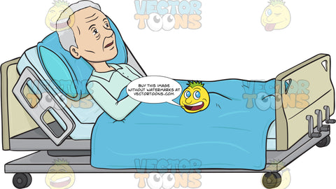 Old Lady Lying In A Hospital Bed