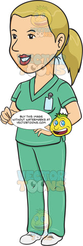 Smiling Woman In Scrubs Observing Attentively