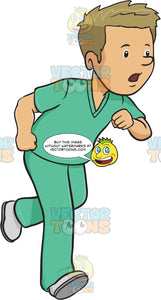 Man In Medical Scrubs Rushes In A Hurry