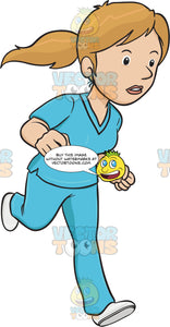 Alert Woman In Scrubs Dashes Off In A Hurriedly