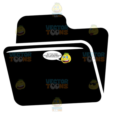Open Tabbed File Folder Black And White Computer Icon