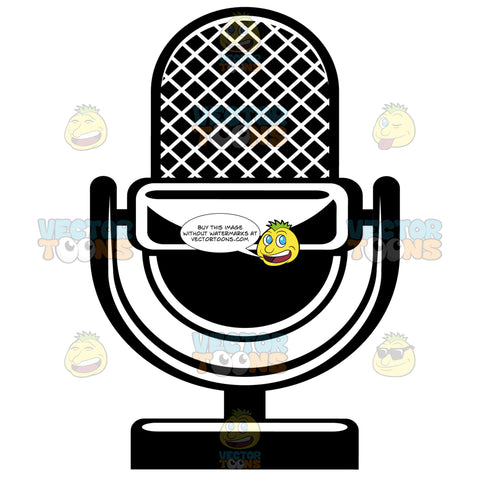 Broadcast Microphone On Stand Black And White Computer Icon