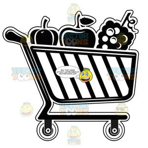 Shopping Cart Buggy With Fruits And Vegetables Inside Black And White Computer Icon