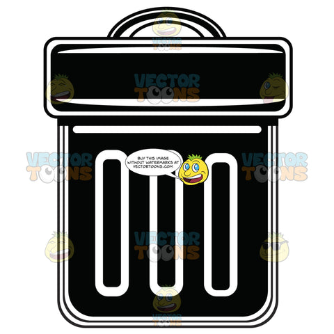 Garbage Can With Lid Black And White Computer Icon