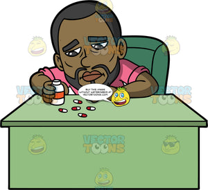Calvin Looking At A Bunch Of Pills Spilled On A Table. A man with a beard, wearing a pink shirt, looking upset as he sits behind a desk looking at a bunch of pills he has spilled out on a table