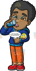Jimmy Swallowing Pills. A man wearing orange pants, a blue hoodie, and red shoes, holding a pill bottle in one hand and taking a drink of water from a glass in the other hand