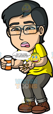 Simon Preparing To Take A Handful Of Pills. An Asian man wearing light brown pants, a yellow shirt, brown boots, and eyeglasses, holding a bunch of pills in one hand and a pill bottle in the other