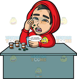 Kevin Taking A Bunch Of Pills. An Asian man wearing a red hooded sweatshirt, sitting behind a desk and throwing a bunch of pills into his mouth