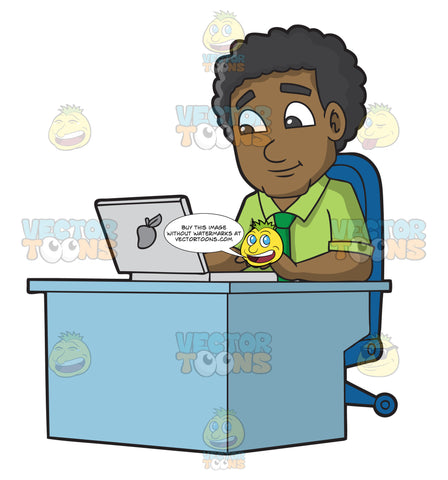 A Black Man Using His Office Laptop