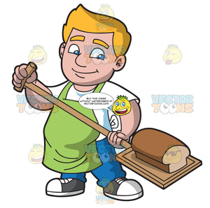 A Man Taking Out A Loaf Of Bread From The Oven