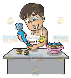 A Man Frosting Some Cupcakes
