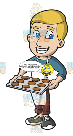 A Man Carrying A Tray Of Hot Cookies