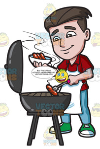 A Man Cooking Hot Dogs On The Grill