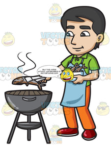 A Man Grilling Fish On The Bbq