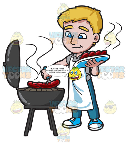 A Man Grilling Hot Dogs